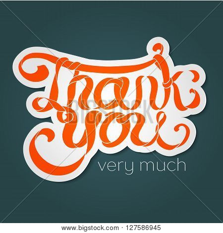 Vector Colorful Hand Lettering Thank You Text With White Stroke