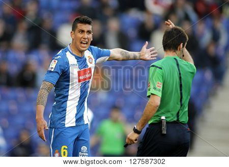BARCELONA - APRIL, 9: Enzo Roco of RCD Espanyol during a Spanish League match against Atletico de Madrid at the Power8 stadium on April 9, 2016 in Barcelona, Spain