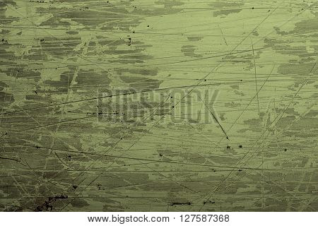 Green coated steel grunge background with scratches