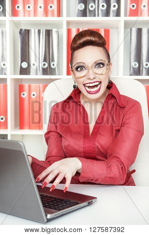 Happy Smiling Success Crazy Business Woman