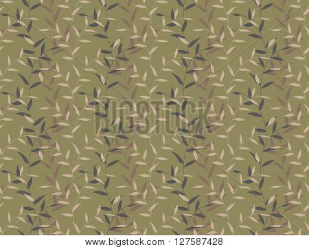 Seamless Leaves Curly Floral Camo Pattern Background