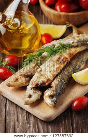 Rrussian Traditional Fish Smelt On The Wooden Table