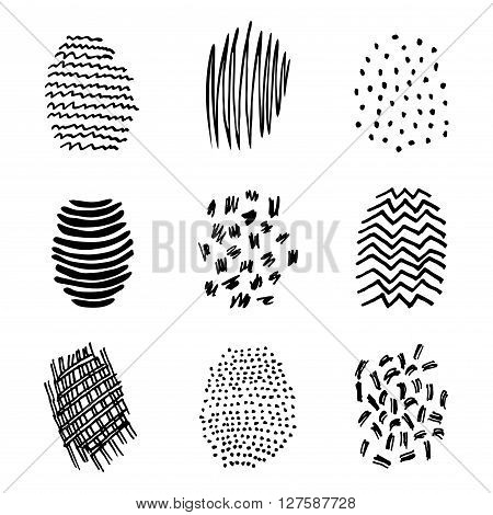 Set of 9 hatching hand drawn shapes scribble line spot textures design elements doodles patterns of ink art and pencil strokes vector isolated.
