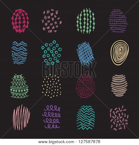 Set of 16 colorful hatching hand drawn shapes scribble line spot textures design elements doodles patterns of ink art and pencil strokes vector isolated.