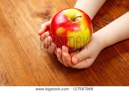 People, Children, Healthy Eating, Ecology And Food Concept -  Holding Green Apple