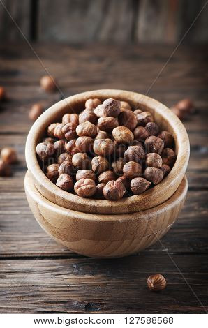 Healthy Raw Hazelnut On The Wooden Table