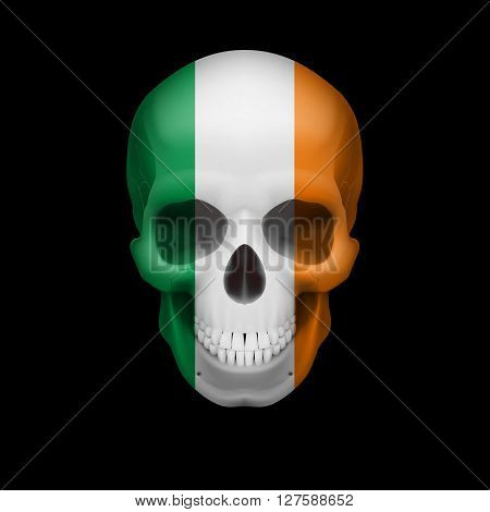 Human skull with flag of Ireland. Threat to national security war or dying out