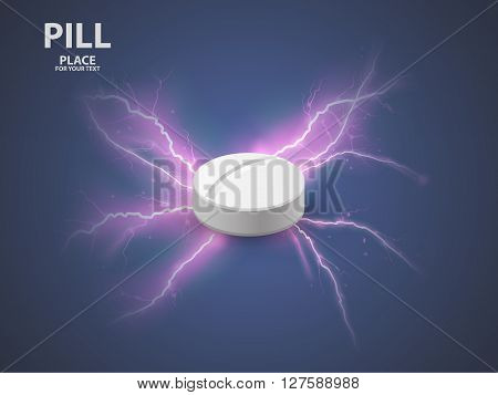 3d white pill. concept of a vaccine . vector illustration
