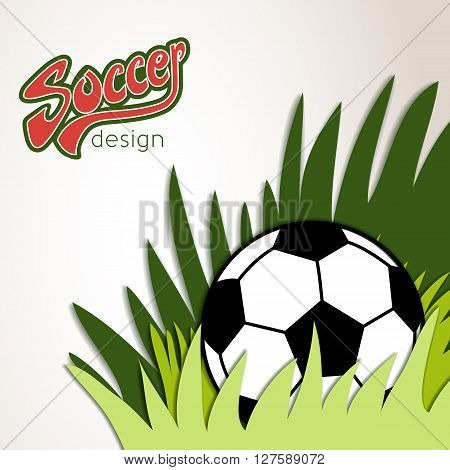 Vector Soccer Banner With Ball And Grass In The Corner