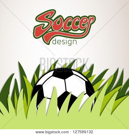 Vector Soccer Banner With Ball And Grass In The Bottom