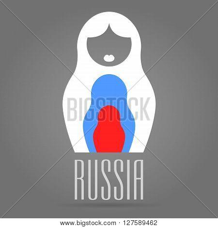 Russian Matrioshka Vector Icon In Thin Line Style, Flags Color