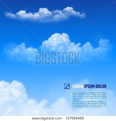 Fluffy white clouds on the sky background. Down text