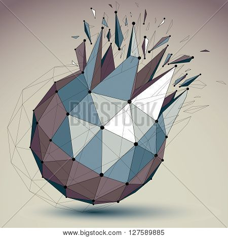 Abstract vector low poly wrecked object with black lines and dots connected. 3d origami futuristic spherical form with lines mesh. Digital technology network element.