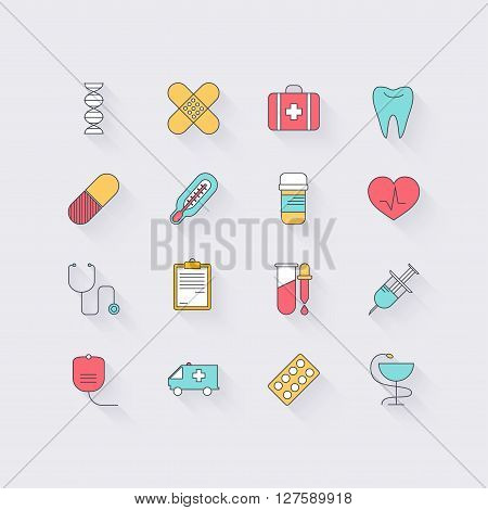 Line icons set in flat design. Elements of medicine health hospital immune system analysis genetics diagnostic equipment medical tools. Modern infographic linear vector illustration.