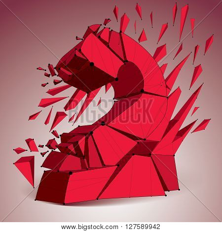 Abstract 3d faceted red number 2 with connected black lines and dots. Vector low poly shattered design element with fragments and particles. Explosion effect.