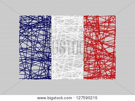 France flag design concept. Flag painted by pencil strokes and country name. Image relative to travel and politic themes