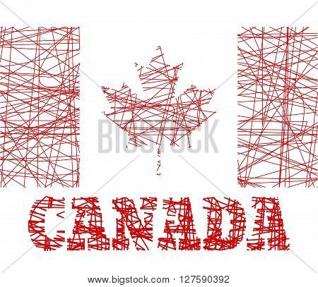 Canada flag design concept. Flag painted by pencil strokes and country name. Image relative to travel and politic themes