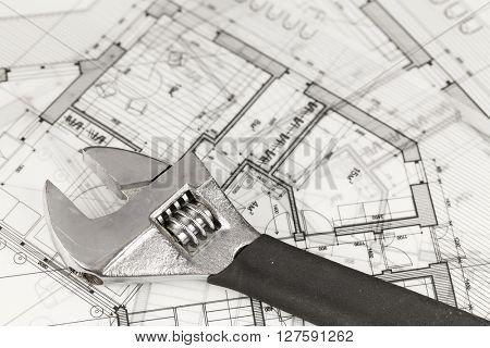 architecture blueprints -  house plans & adjustable wrench