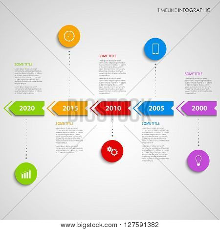 Time line info graphic with colored arrows design template vector eps 10