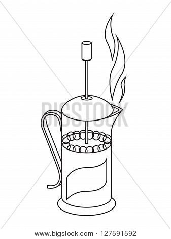 Vector illustration of french press, black and white drawing in linear style icon home device for making beverage coffee and tea.