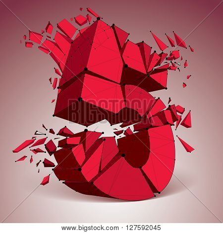3d vector low poly red number 5 with black connected lines and dots geometric wireframe font with refractions. Perspective shattered digit with thread