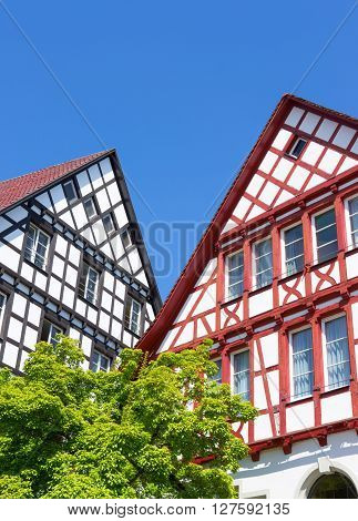Gables of two German half-timbered houses with a tree