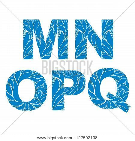 Marine Style Blue Vector Font, Typeset With Floral Elegant Ornament. M, N, O, P, Q, Drop Caps.