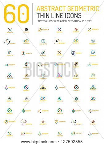 Collection of linear business logos abstract universal shapes - clean modern geometric symbols, branding logotype company emblem ideas and business identity
