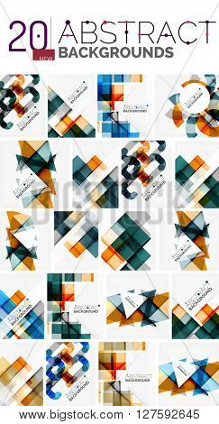 Collection of abstract backgrounds - repetition of multicolored transparent squares and swirl lines, geometric pattern set. Colorful geometric universal templates, bright unusual banner designs, text