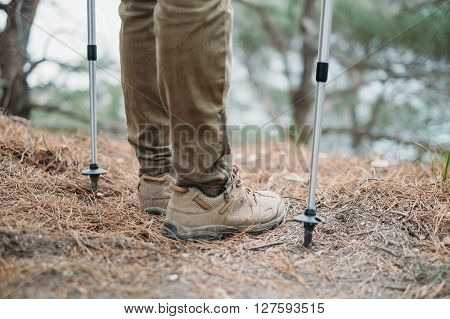 Hiker woman with trekking poles standing in the forest view of legs