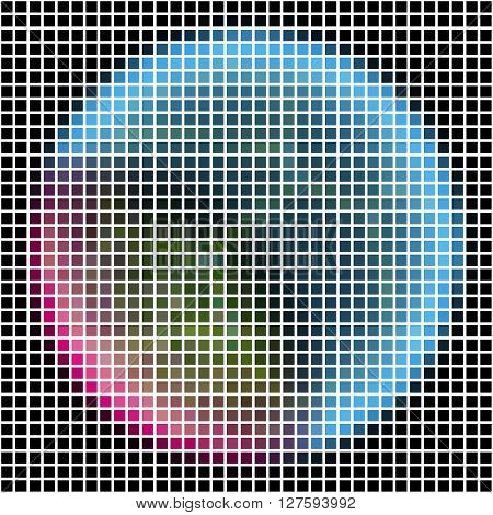 Pixel Maping Of Shinning Planet With Silver Blue Pink Atmosphere. Planet Somewhere In Dark Space