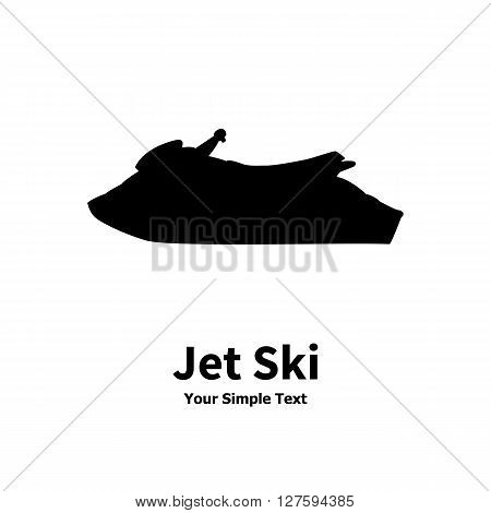 Vector illustration of a isolated silhouette of a water jet ski on a white background.