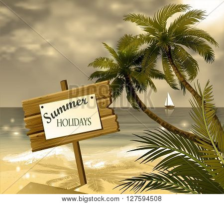 wooden signboard on idealistic tropical beach on old grange texture
