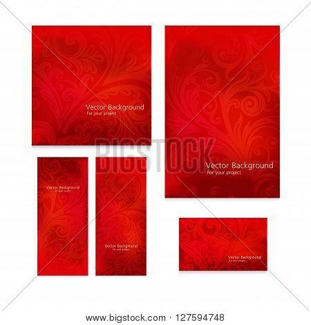 Premium royal vintage victorian set of five templates red floral classic backgrounds vector elegant design for restaurant menu, book cover, invitation, brochure, backdrops
