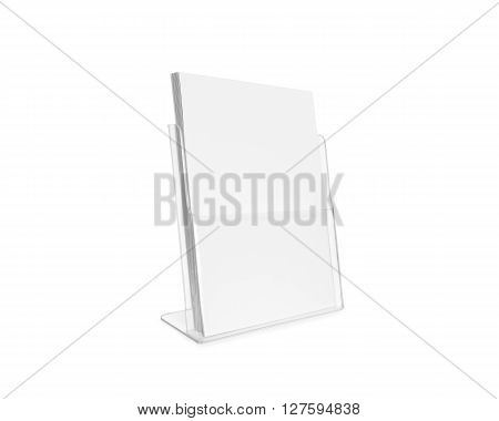 Blank flyer mockup glass plastic transparent holder isolated. Plain flier stand. Clear brochure holding. Clean poster mock up design presentation. Shows flyer. Pamphlet design. Empty paper template.
