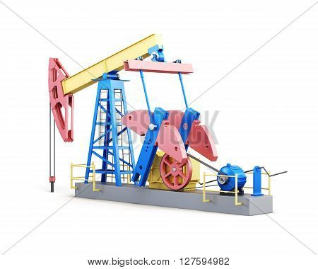 Oil well pump isolated on white background. 3d render image.