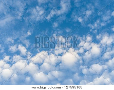 Heap clouds in the blue sky. Nature background.