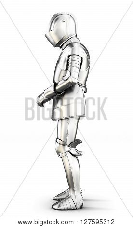 Armor side view isolated on white background. Metal armor. Medieval armor. 3d rendering