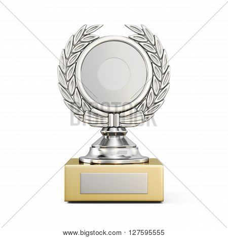 Silver award with a Laurel wreath isolated on white background. Front view. 3d rendering