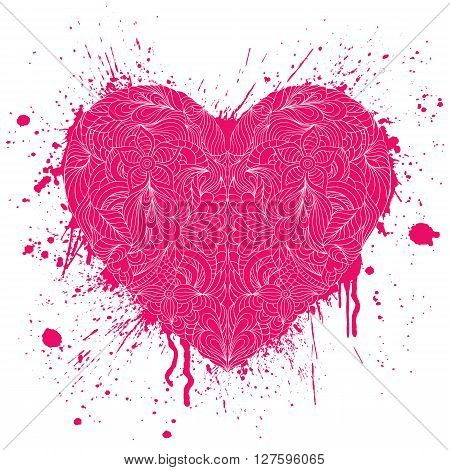 Vector illustration of grunge heart with handdrawn pattern on white background