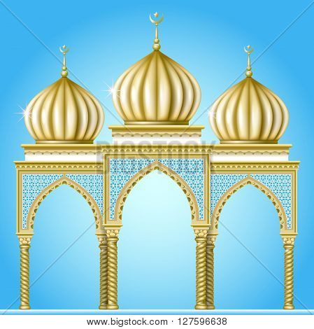 Garden or religious building in the oriental style with golden domes and arched entrances