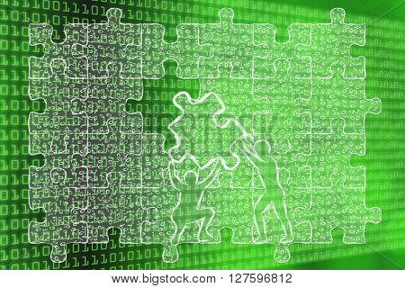 Men Lifting Piece Of Puzzle With Messy Binary Code To Fill A Gap