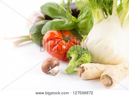 collection fresh vegetables isolated on white background