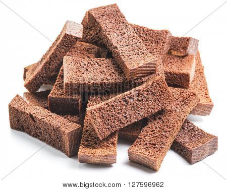 Bread croutons isolated on a white background.