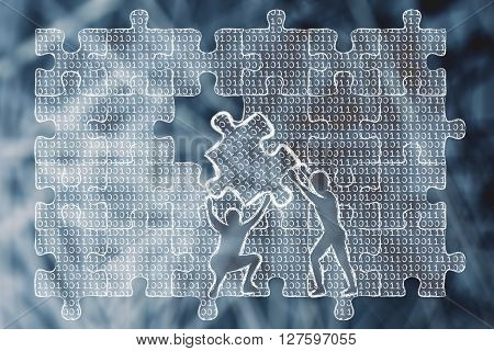 Men Lifting Piece Of Puzzle With Binary Code To Fill A Gap