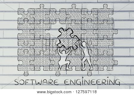 Filling A Gap With Puzzle Piece Of Binary Code, Software Engineering