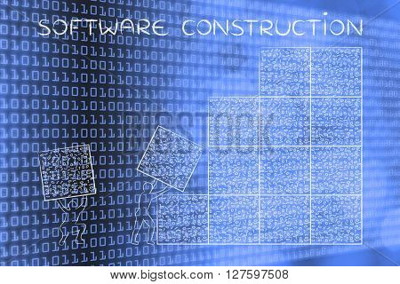 Men Lifting Blocks Of Messy Binary Code, Software Construction