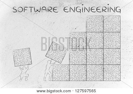 Men Lifting Blocks Of Messy Binary Code, Software Engineering
