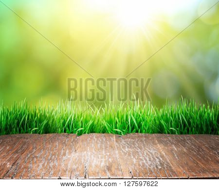 Old brown wooden floor with green grass on the edge. Nature background.