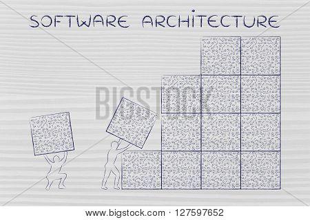 Men Lifting Blocks Of Messy Binary Code, Software Architecture